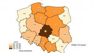 Zmiany stopy bezrobocia rejestrowanego - październik 2012 do października 2011, GUS