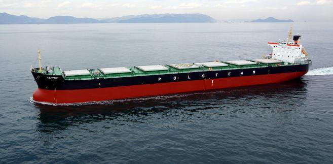 """Masowiec """"Karpaty"""" zbudowany przez japońską stocznię dla Polskiej Żeglugi Morskiej (Polsteam)"""