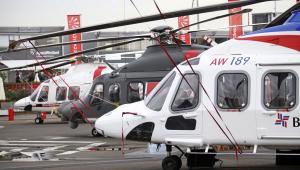 Paris Air Show 2013: Trzy helokoptery firmy Agusta Westland: Od lewej: AW169, AW139M, i AW189.