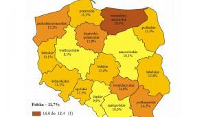 Stopa bezrobocia według województw, źródło: GUS