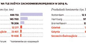 Polskie porty na tle dużych zachodnioeuropejskich (2014 rok)