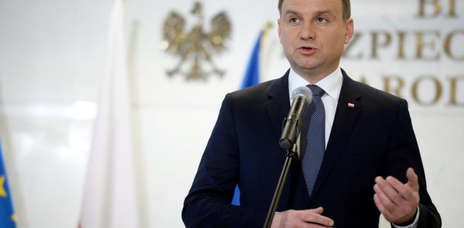 Prezydent Andrzej Duda podczas konferencji prasowej po posiedzeniu Rady Bezpieczeństwa Narodowego