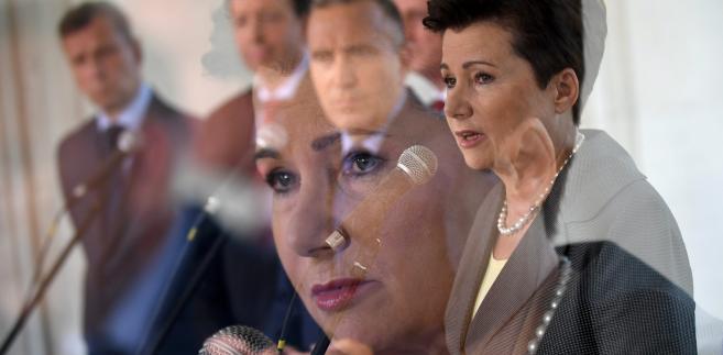 Prezydent Warszawy Hanna Gronkiewicz-Waltz po posiedzeniu zarządu Platformy Obywatelskiej w Warszawie.