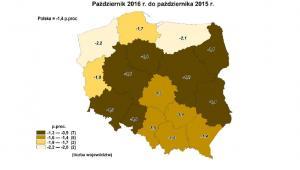 Stopa bezrobocia w październiku 2016 - zmiany w województwach , źródło: GUS