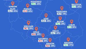 Ranking bezpieczeństwa polskich miast - mapa, źródło: Home Brokers