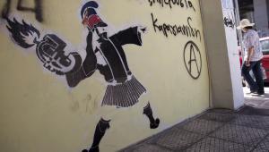 Grecja, grafiti na murze w Atenach