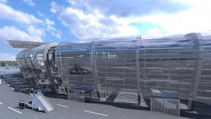 Projekt docelowego terminalu w Radomiu - widok z zewnątrz