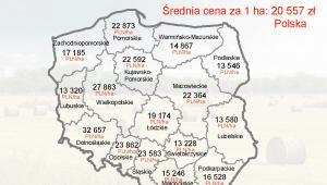 Ceny gruntów rolnych w III kwartale 2012 r. - mapa