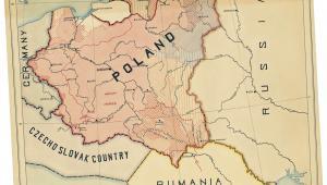 Mapa z sugerowanymi granicami Polski przygotowana przez Romana Dmowskiego dla prezydenta Woodrowa Wilsona fot. mat. prasowe