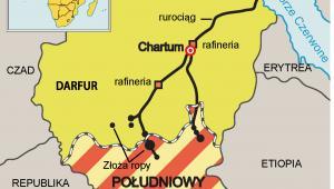 Sudan Południowy i Sudan Północny - mapa rurociągów i złóż ropy