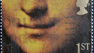 Uśmiech Mona Lisy na brytyjskim znaczku pocztowym